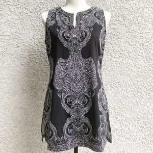 • INC Black & White Sleeveless Tunic w/ Beading •
